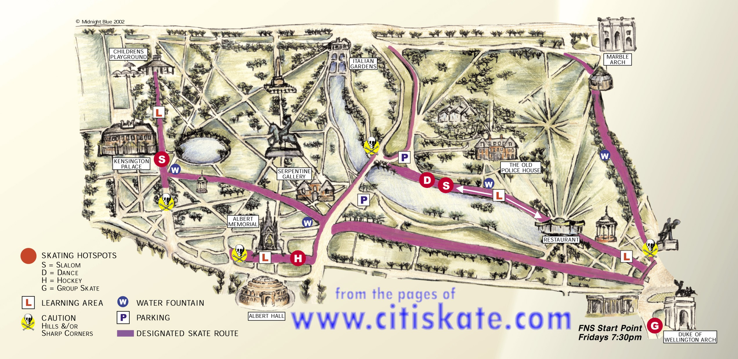 Hyde Park map for skaters incl Kensington gardens